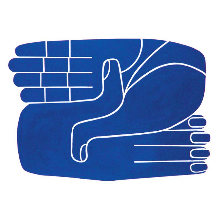 Blue hands image for Carla Fernandez and Pedro Reyes exhibition