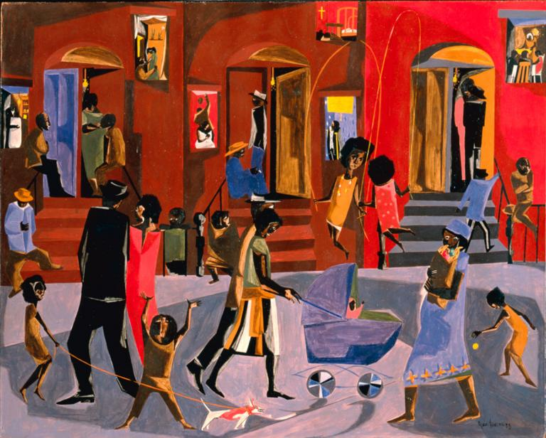 "Jacob Lawrence, ""Brownstones,"" detail, gouache on board, 31.5"" x 73.25"", 1958. Clark Atlanta University Art Museum; Gift of Chauncey and Catherine Waddell, WC45. © 2018 Jacob and Gwendolyn Knight Lawrence Foundation, Seattle/Artists Rights Society, New York."