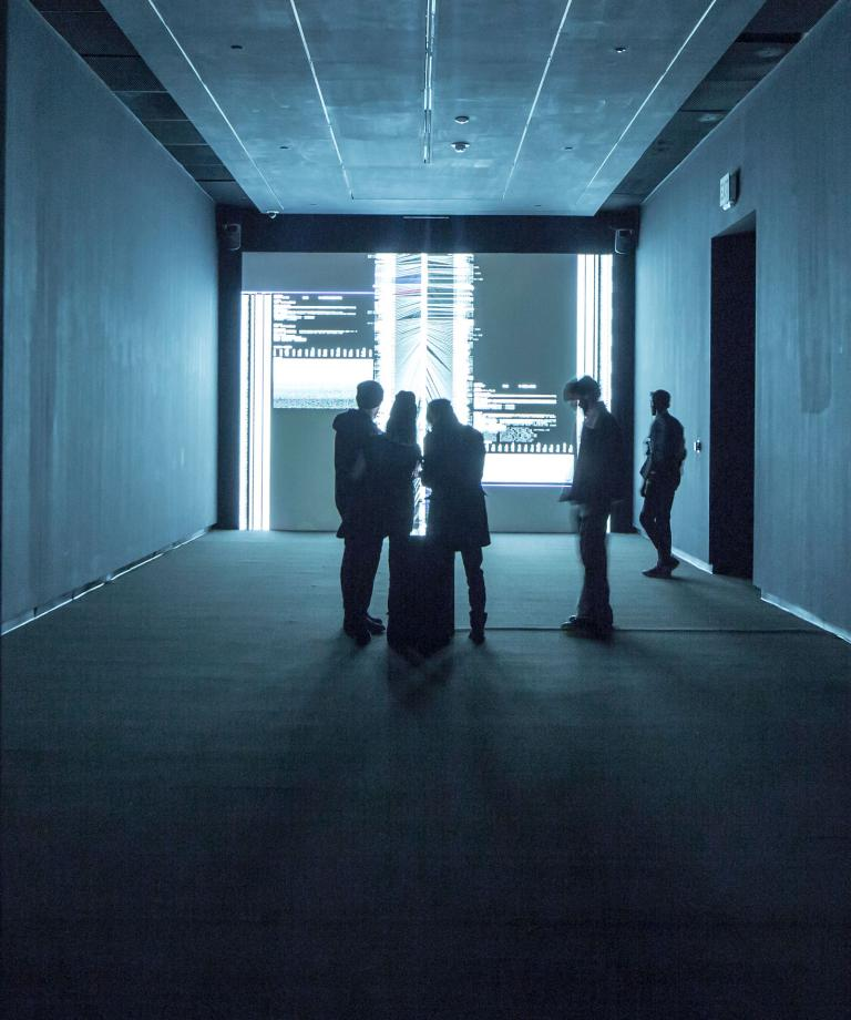 "Ryoji Ikeda, ""data.tron/data.scan."" Photograph by Marc Newton. Courtesy of SCAD."