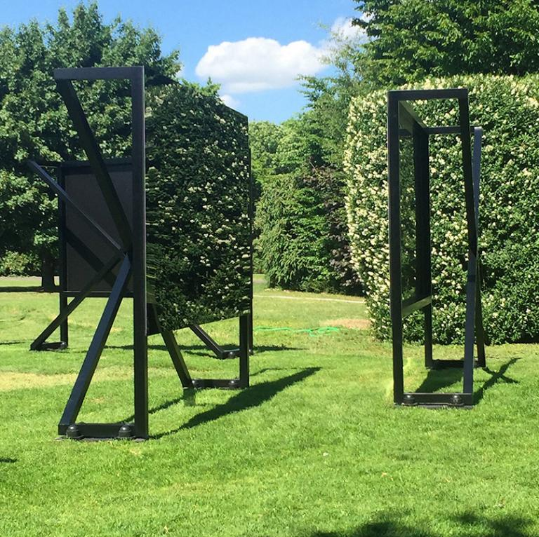 "Tom Burr, ""No Access,"" aluminum frames with a polished, tinted steel face, 2015. Courtesy of Bortolami, New York."