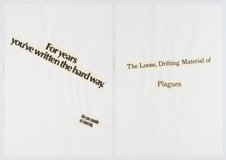 "Lorraine O'Grady, ""Cutting Out CONYT, Haiku Diptych 10,"" Japanese paper with letterpress printing, cut-out and collaged on laid paper, 1977/2017. Two panels, each 30"" x 40"", framed size: 62"" x 42"". Edition of 12 with 1AP. Courtesy of the artist and Alexander Gray Associates, New York © 2018 Lorraine O'Grady / Artists Rights Society (ARS), New York."