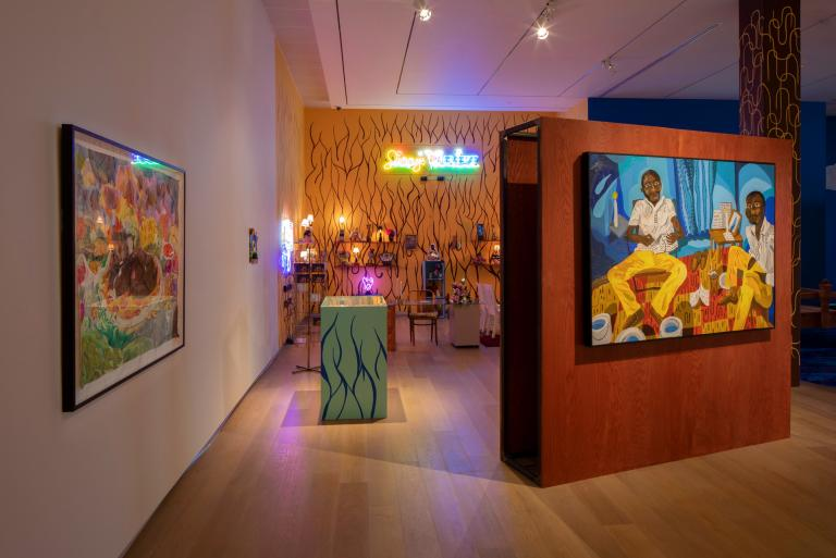 Installation view of Azikiwe Mohammed exhibit at SCAD Museum of Art