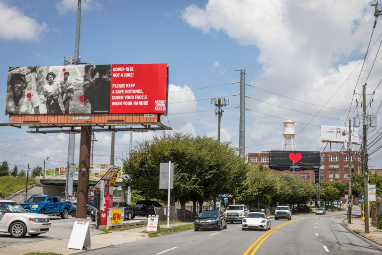 Carrie Mae Weems exhibition billboard installation photo